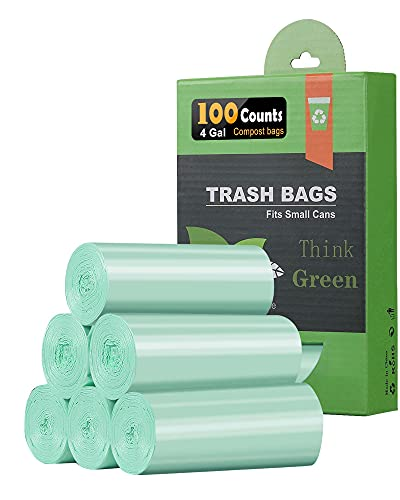 4-6 Gallon Small Trash Bags Bathroom Trash Bags,AYOTEE 100 Count Ultra Strong Unscented Garbage Bags Mini Trash Bags Waste Basket Liners for Bathroom, Kitchen ,Bedroom, Office, Pet, Car(Green)