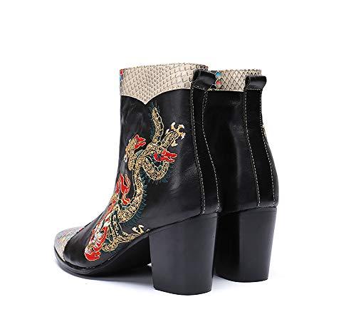 Design Cowboy Bottes L'automne Pour En Singer Rock Hommes Casual Pointu Courtes Shose Toe Classiques Chaudes Chaussures Dragon Et Motif Knight Cuir L'hiver Eu40 HHYqcEr