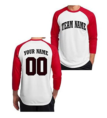 Custom 3/4 Sleeve Baseball T-Shirt - Adult (Red, X-Large) - Custom Raglan T-shirts
