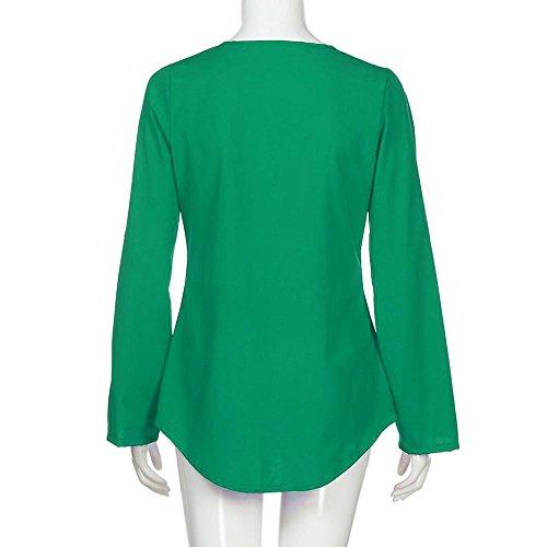Loose T Dame Mousseline Vtements Chemisier Lache Top Mode V Sunenjoy Blouse Sauvage Basique Chic Femme Casual Col t Vert Haut Manche Zipp Shirt Longue a1q0vYw