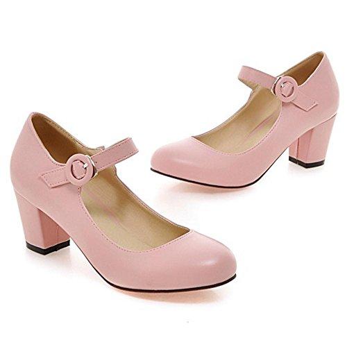 TAOFFEN Women's Ankle Strap Court Shoes Pink 90WJ3wiF