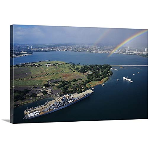 GREATBIGCANVAS Gallery-Wrapped Canvas Entitled Hawaii, Oahu, Aerial of USS Missouri Docked at Pearl Harbour with USS Arizona Memorial by Tomas Del Amo 36
