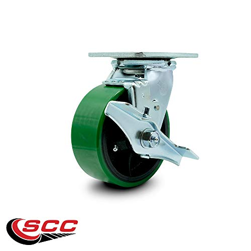 Service Caster - 5'' x 2'' Polyurethane Wheel Caster Set - Green on Black - 2 Swivel w/Brakes/2 Rigid - Non Marking - 4,000 Lbs Total Capacity - Set of 4 by Service Caster (Image #3)