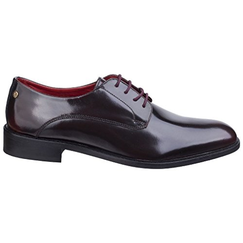 Base London Mens Bexley Hi-Shine Lace Up Leather Smart Oxford Shoes Bordo