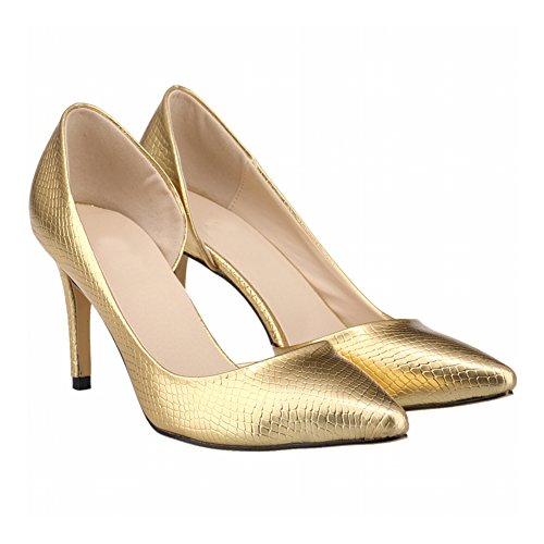 Meijunter Frühling Frau Side Empty Stiletto Krokodil High Heels Flacher Mund Pumpen Schuhe Gold