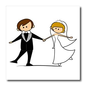 ht_165464_1 TNMGraphics Weddings - Dancing Bride and Groom Cartoon - Iron on Heat Transfers - 8x8 Iron on Heat Transfer for White Material
