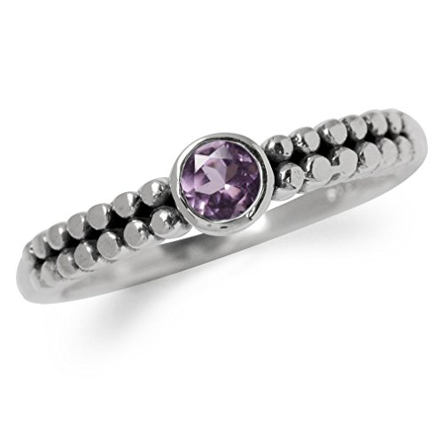 Natural Amethyst 925 Sterling Silver Stack/Stackable Balinese Ring Size (Balinese Silver Ring)