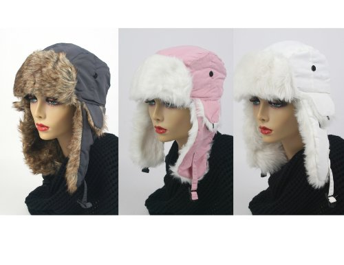 Pop Fashionwear 3 Pcs Women's Trapper Winter Ear Flap Hat P136 (S4-Gray-Pink-White)