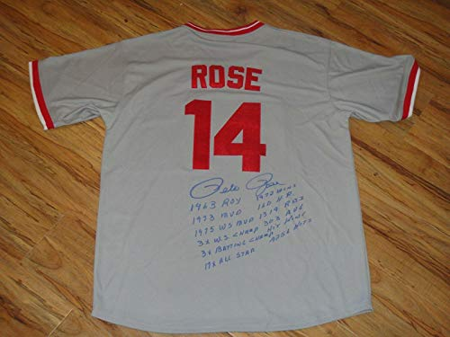 (Pete Rose Signed Jersey - Road 12 Stats Beckett Bas Certified - Beckett Authentication - Autographed MLB Jerseys)