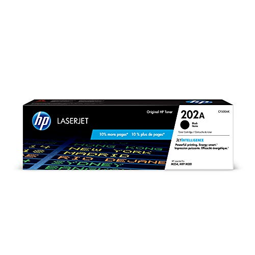 HP 202A (CF500A) Black Toner Cartridge  for HP LaserJet Pro M254 M281cdw M281dw ()