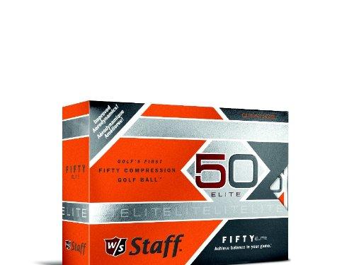 Wilson Staff Fifty Elite Golf Balls, Orange, Pack of 12 by Wilson