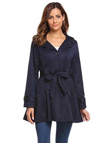 Flyerstoy Women Single-Breasted Detachable Hoodie Trench Coat with (Hoodie Trench)
