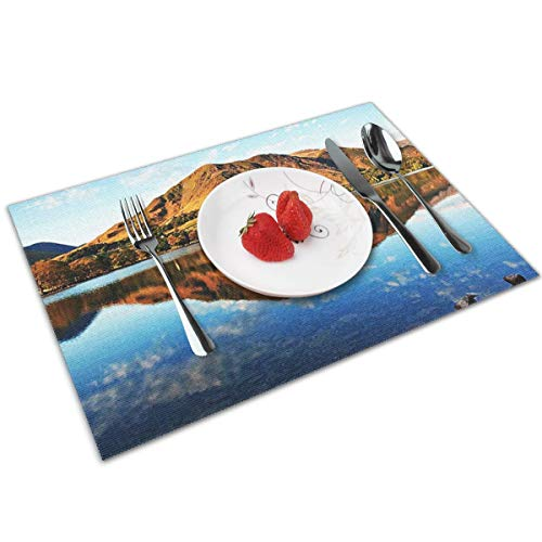 POQQ Placemats for Dining Table Buttermere Lake District 2, Washable Easy to Clean PVC Placemat, Heat Resistand Kitchen Dinner Table Mats 12x18 Inches Set of 4