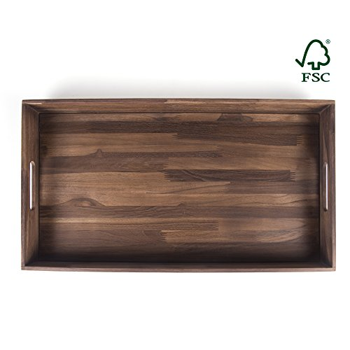 Glitz Star Square Teak Wood Serving Tray, Extra Large(24 x 13 inch) (& Furniture Mahogany Teak)