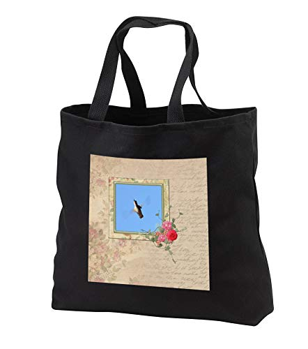 Beverly Turner Bird Photography - Speeding Hummingbird. Square Flora Frame, Flower Accents, Flora Print - Tote Bags - Black Tote Bag 14w x 14h x 3d (tb_299613_1)