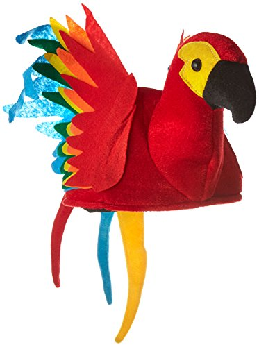 Plush Parrot Hat Party Accessory (1 count) (Pirate Parrot Costume)