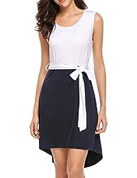 Women Summer Sleeveless Color Block Tunic Dress with Belt