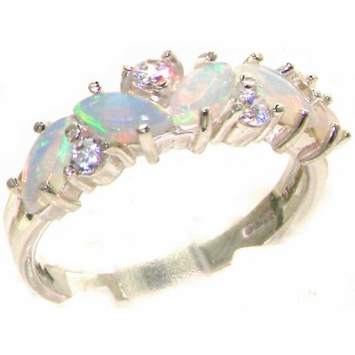 Diamond 14k Gold Estate Ring (14k White Gold Natural Opal and Diamond Womens Eternity Ring - Sizes 4 to 12 Available)