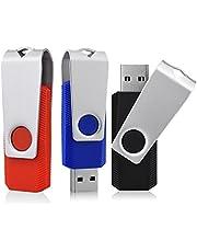 KEXIN 3 Piezas USB 16GB Giratorio USB Flash Drives Disco Plegable (Negro Azul Rojo)