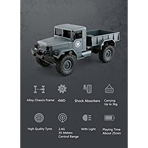 Graces Dawn Remote Control Car, Terrain RC Cars, Electric Remote Control Off Road military Truck, WPL B-1 1/16 2.4G 4WD Off-Road RC Military Truck Rock Crawler Army Car (gray)