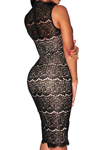 Zkess Women's Sleeveless Lace Party Midi Dress One Size Black