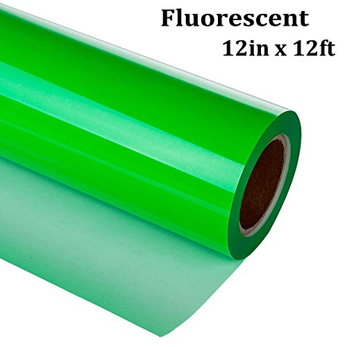 Fluorescent Heat Transfer Vinyl Roll for t Shirt 12 Inch X 12 Feet PU Elastic Cold Weed -guangyintong (Green)