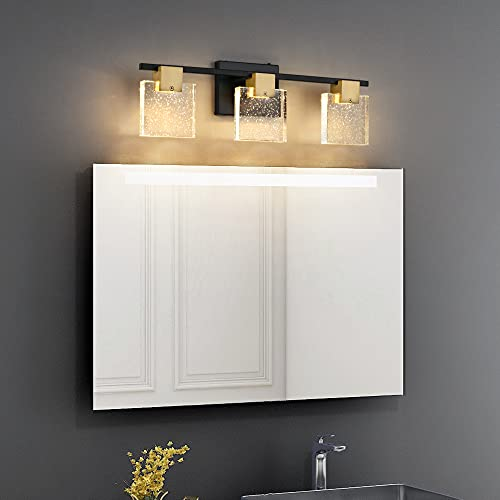 Axnine LED Vanity Lights Bathroom Fixture Over Mirror 3 Lights, Modern Black Metal with Clear K9 Bubble Crystal and Bronze Fixtures, Wall Mount Lighting Gold Sconce