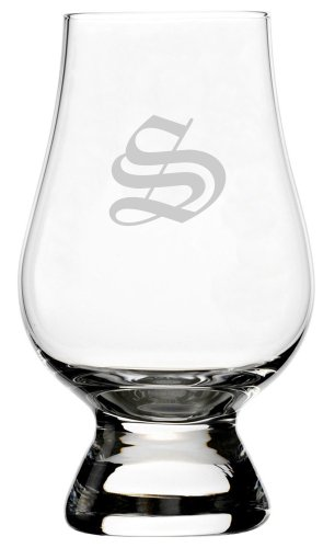 - Old English Etched Monogram Glencairn Crystal Whisky Glass (Letter S)