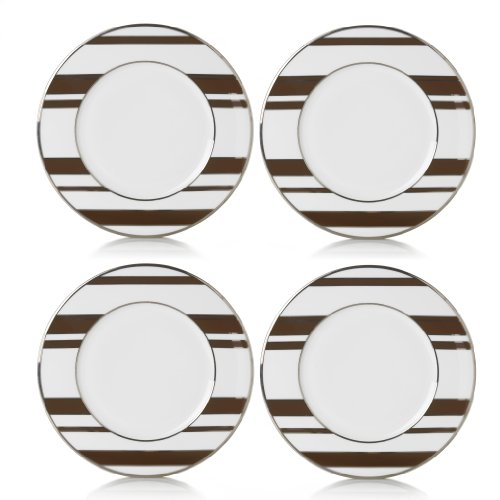 Mikasa Color Studio Brown-Platinum Stripes Set of 4 Accent Plates