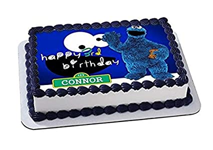 Amazon Com Cookie Monster Sesame Street Edible Cake Topper