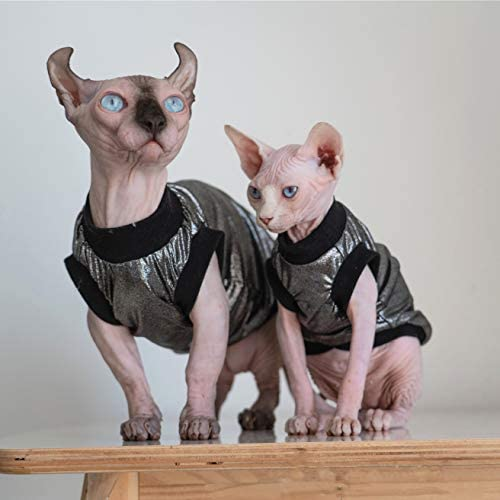 Hairless Cats Clothes, Punk Rock T-Shirt Sleeveless Steampunk Tank Top Vest, Breathable Summer Vest Cat Wear Clothes for Sphynx, Cornish Rex, Devon Rex, Peterbald, Hairless Cats Apparel Assorted Size 26