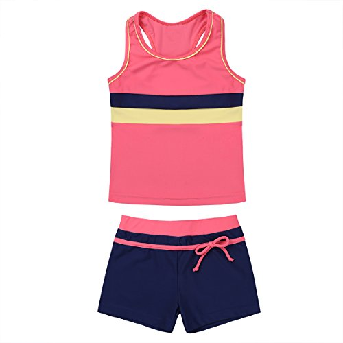 ranrann Kids Girls Two-Piece Sleeveless Tank Top with Bottoms Tankini Outfits Gymnastic Athletic Swimwear Swimsuit Bathing Suit Watermelon Red 7-8 swim shirts red 8