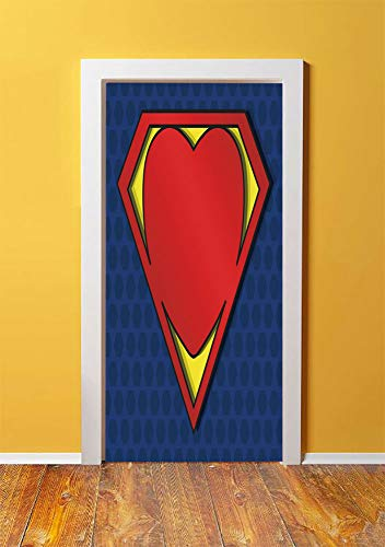 Superhero 3D Door Sticker Wall Decals Mural Wallpaper,My Super Man Shield Logo with Heart Figure Valantines Romance Print,DIY Art Home Decor Poster Decoration 30.3x78.4932,Night Blue Red Yellow -
