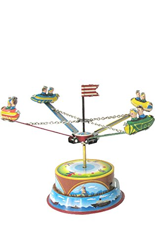 Alexander Taron Importer MM266  This Lever Wind Carousel Features Four Bulletshaped Cars with Two Riders within