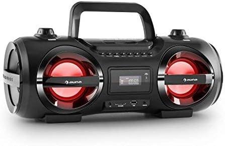 auna Soundstorm M - Minicadena, Estéreo, Bluetooth 3.0 Alcance 10 m, Puerto USB/SD Compatible con MP3, Sintonizador Am-FM, Entrada AUX, Efectos de ...