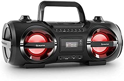auna Soundstorm M - Minicadena, Estéreo, Bluetooth 3.0 Alcance 10 m, Puerto USB/SD Compatible con MP3, Sintonizador Am-FM, Entrada AUX, Efectos de iluminación por LED, Portátil, Negro