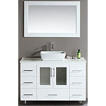 This Item Design Element Stanton Single Vessel Sink Vanity Set With White Finish 48 Inch