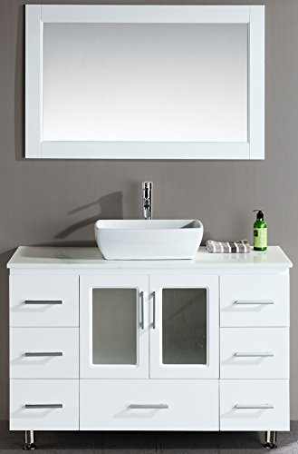 Design Element Stanton Single Vessel Sink Vanity Set With White Finish,  48 Inch