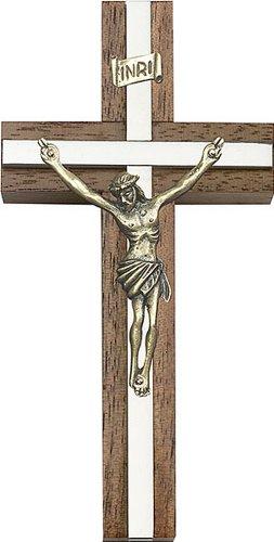 Icecarats Créatrice De Bijoux 4 Pouces Crucifix D'Or Antique, Noyer W / Argent Finition Marqueterie 4 X 2 Pouces
