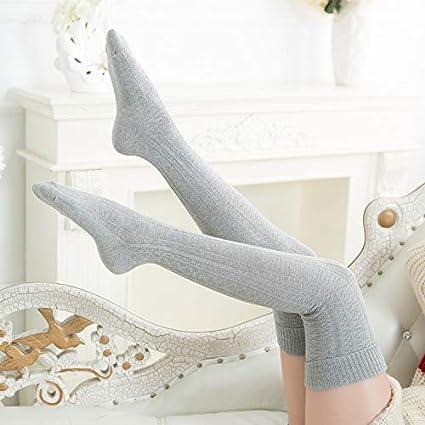 XINSU Home Otoño e Invierno Medias de torsión largas Medias de Muslo Retro Calcetines Gruesos de
