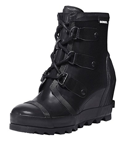 SOREL Women's Joan Rain Wedge Gloss Black/Sea Salt Ankle-High Rubber Boot - 7.5M