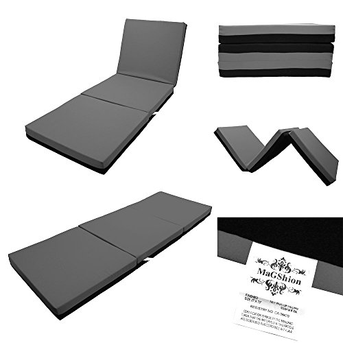 Magshion Sleep Folding Memory Foam Floor Mattress Thai Massage Bed Tri-Fold - Full Size (Dark Grey) by Magshion