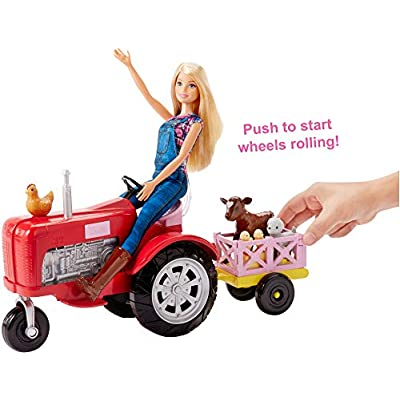 Barbie Tractor Playset with Wagon, Animals and Doll: Toys & Games