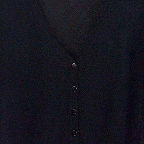 en Noir col Noir mode longues a tricotes les femmes a la TOOGOO V Cardigans decontractes Chandails pour minces manches xqcwTWt1SR