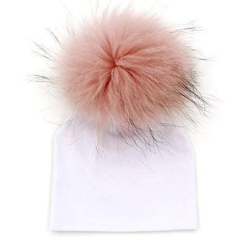 GZHILOVINGL 0-6 Months Baby Hats Newborn Infant Beanie With Real Fur Pom Pom Spring