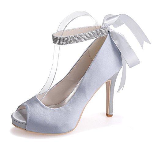 Stiletto with Heel Ribbons Shoes Silver Evening Open Peep Crystal Toe Bridal Clearbridal Porm Satin Wedding for 04 Women's ZXF6041 xPvwz8