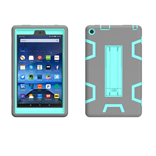 Price comparison product image For Amazon Kindle Fire HD 8 8inch 2016,Sunfei Shockproof Military Heavy Rubber W/Hard Case (L)