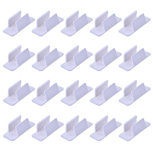 Outus Pen Holder Clip Self Adhesive for Pen Paint Brush Desk Computer Car Bulletin Board Clipboards, 20 Pack, White