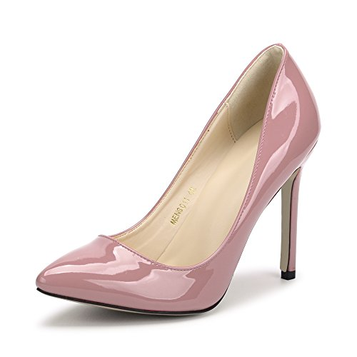 (Women's Pointy Toe Slip On Stilettos High Heels Dress Pumps Nude Pink Tag 45 - US B(M) 11)