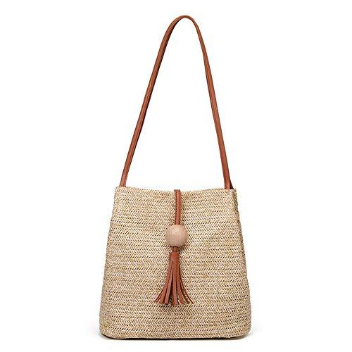 et marron marron avec Summer d'utilisation capacité Womens modes tissée Beach trois Zxlife Straw bandoulière Bag grande pochette n17xFqwZ